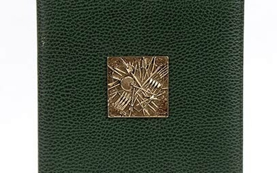 ARNALDO POMODORO FOR BAYER LEATHER DOCUMENT HOLDER 80s Dark green...