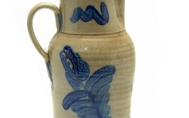 American 19th Century Stoneware Cobalt-Painted Pitcher