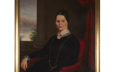 American School 19th century Portrait of a seated lady...