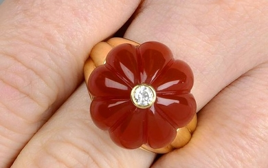 An 18ct gold diamond and carved carnelian floral dress