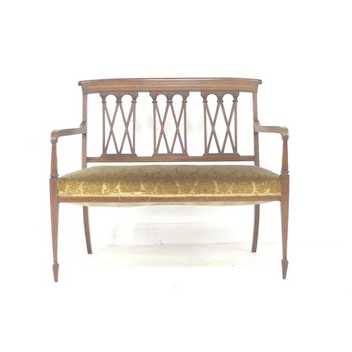 An Edwardian mahogany crossbanded and line inlaid two seater...