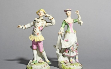 An early pair of Derby figures of dancers...