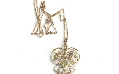 Antique 9ct gold peridot and seed-pearl pendant necklace