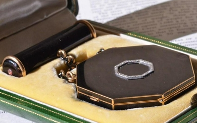 Antique Cartier Paris enamel compact case and lipstick