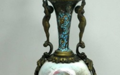Antique French Bronze and Porcelain Vase