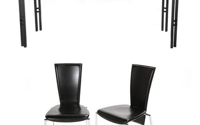 Arper Italian Black Leather Set of Six Side Chairs With