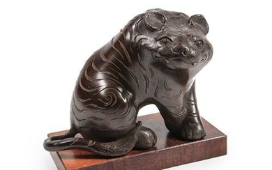 Asian Patinated Bronze Figure of a Tiger