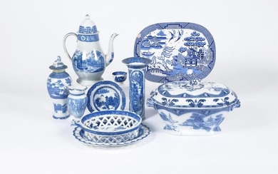 Assorted blue and white printed Staffordshire pottery