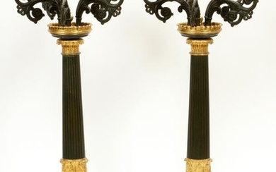BRONZE FRENCH EMPIRE CANDELABRAS