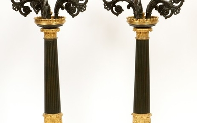 BRONZE FRENCH EMPIRE GILT BLACK PATINA CANDELABRAS 19TH.C. PAIR 27 DIA 10