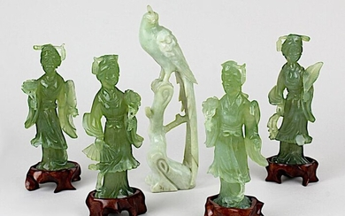 Bird and 4 dancers made of jade, China 1st h. 20th century, bird made of opaque white-green jade, dancers made of slightly transparent green jade, 4 figures partly slightly bumped, h from 13 to 18.5 cm, dancers each with wooden base, total weight...