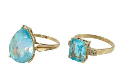Blue Topaz Jewelry two 14K yellow gold rings