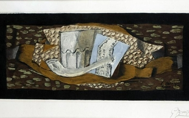 Braque, Georges: Nature morte au verre et a la Pipe