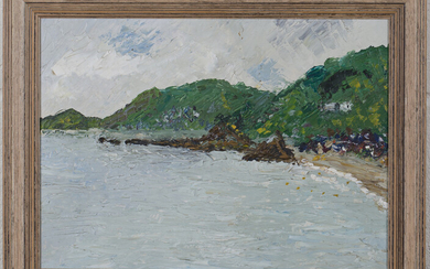 British School - Coastal View, late 20th century oil on board, 23cm x 32cm, within a faux wood frame