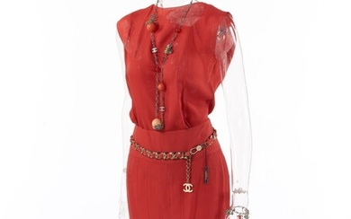 CHANEL | CORAL SILK ENSEMBLE, CHARM NECKLACE AND BRACELET AND CLASSIC CHAIN BELT