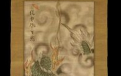 CHINESE ANTIQUE HAND PAINTED DRAGON SCROLL