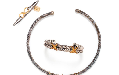 COLLECTION OF STERLING SILVER AND YELLOW GOLD JEWELRY