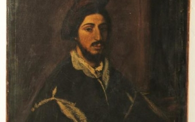 CONTINENTAL OIL ON CANVAS PORTRAIT OF A MAN, 19TH C.