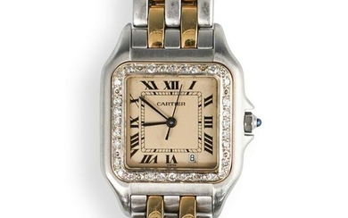 Cartier Two Tone Panthere Stainless Watch