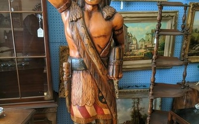 Carved Wood & Plaster Lifesize Repro Dime Store Indian
