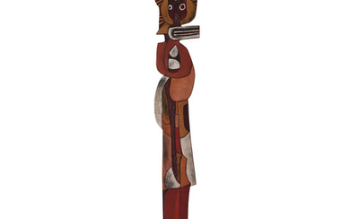 Cecil Skotnes South African 1926–2009 Totem carved, incised and painted wood 217 x 30 x 5 cm