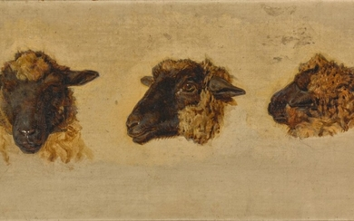 Attributed to Charles Émile Jacque, Three studies of blackfaced sheep heads