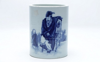 Chinese Blue and White Brushpot H15.5cm