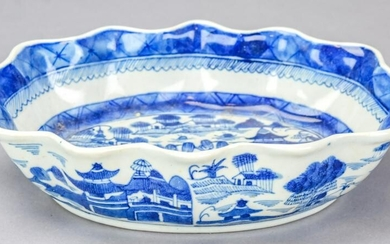 Chinese Canton Blue & White Porcelain Lotus Bowl
