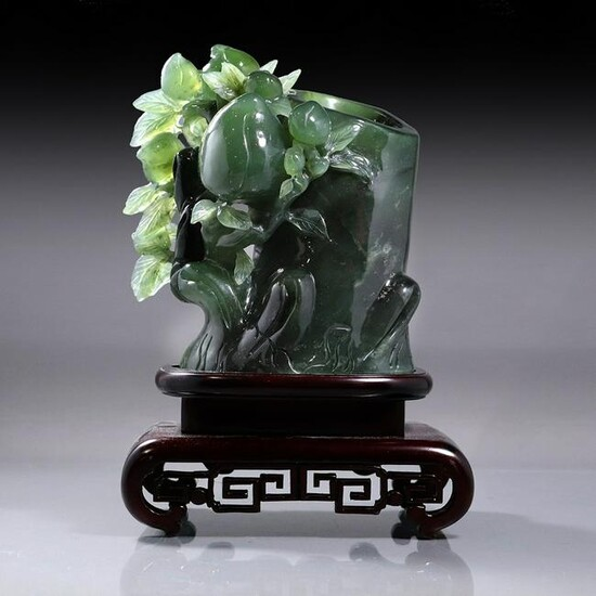 Chinese Green Jade Fruit on a Tree Trunk Sculpture