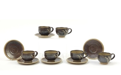 Chris Lewis set of six South Heighton studio pottery cups wi...