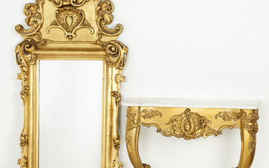 Console table with marble top with mirror