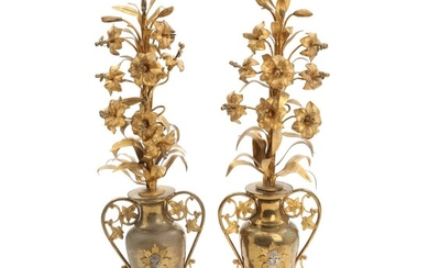 NOT SOLD. A pair of French brass altar vases with lilies. Circa 1900. H. 64...