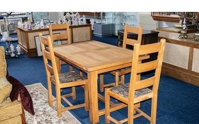 Contemporary Oak Dining Table & Four Matching Chairs. Oak t...