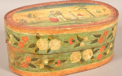 Continental Polychrome Dec. Bentwood Bride's Box.