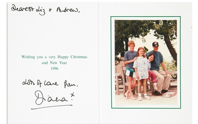 "DIANA; PRINCESS OF WALES. Christmas card Signed and Inscribed: ""Dearest Liz & Andrew / Lots of love from / Diana."""