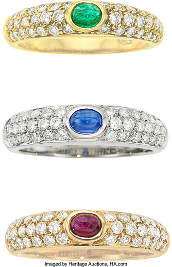 Diamond, Multi-Stone, Gold Rings The rings feature oval-shaped ruby,...
