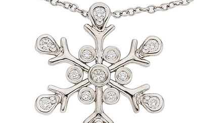 Diamond, Platinum Pendant-Necklace The snowflake pendant features full-cut diamonds...