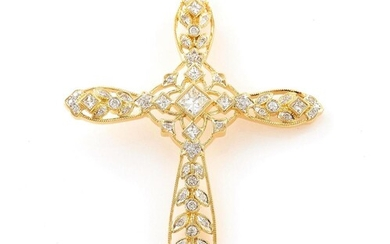 Diamond and gold cross pendant, on Italian chain