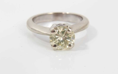 Diamond single stone ring with a brilliant cut diamond estimated to weigh approximately 1.37cts in four claw setting on 18ct white gold shank. Ring size J-J½.