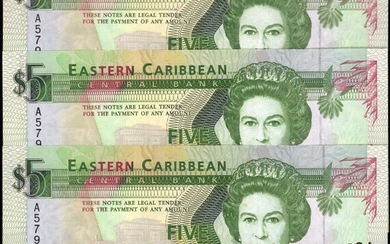 EAST CARIBBEAN STATES. Lot of (3). Central Bank. 5 Dollars, 1993. P-26a. Consecutive. Uncirculated.