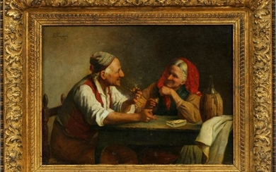 """EUGENIO ZAMPIGHI OIL ON CANVAS """"A GAME OF CARDS"""""""