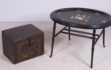 Ebonized faux bamboo tray top coffee table