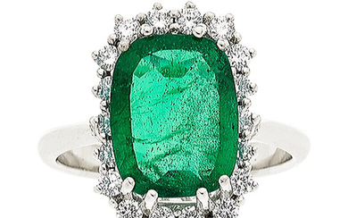 Emerald, Diamond, White Gold Ring The ring centers a...