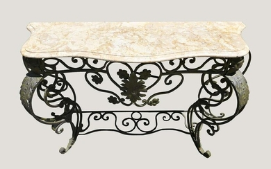 FRENCH PATINATED WROUGHT IRON CONSOLE