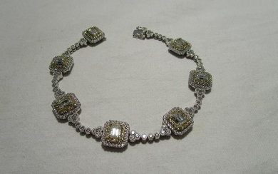 Fine 18ct white gold diamond bracelet with approx 8 carats o...