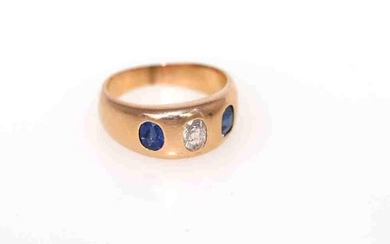Fine Diamond and Sapphires gold ring.