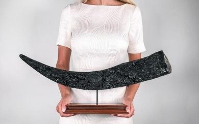Finely Carved Large Horn of Water Buffalo - Bubalus