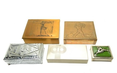 Five Art Deco Style Boxes Including Chase and Rockwell