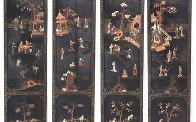 Four Chinese Hard Stone Embellished Figural Lacquer