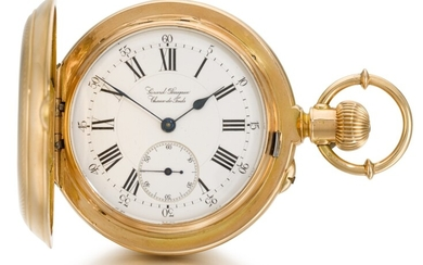 GIRARD-PERREGAUX, CHAUX-DE-FONDS [ Girard-Perregaux,拉紹德封] | A FINE AND RARE PINK GOLD HUNTING CASED DOUBLE DIALLED KEYLESS LEVER WATCH WITH CALENDAR AND MOON PHASES CIRCA 1890, NO. 79923 [ 罕有粉紅金雙錶盤懷錶備日曆及月相顯示,年份約1890,編號79923]